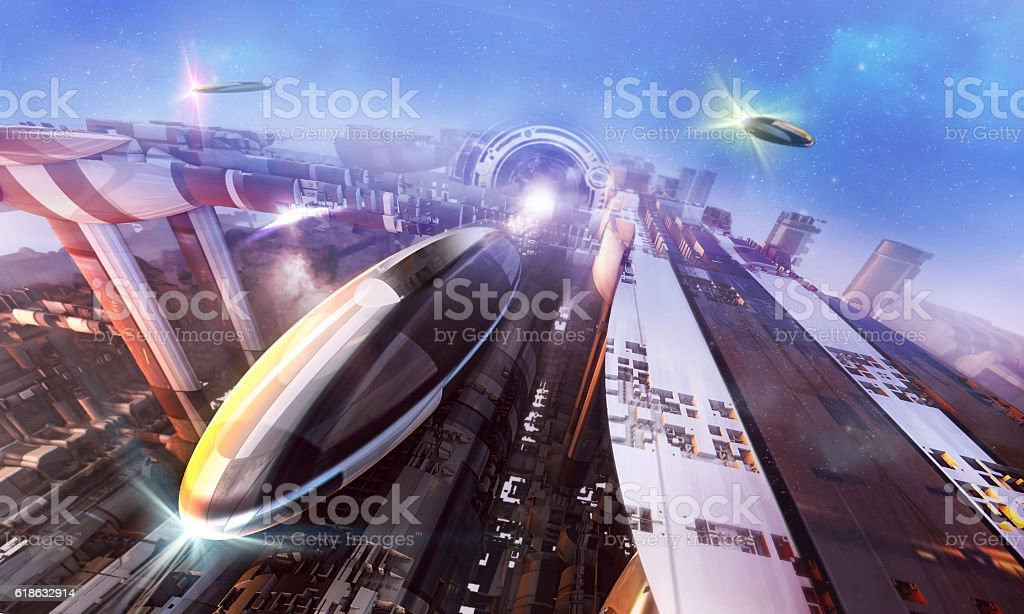 3d rendering - Spaceships stock photo