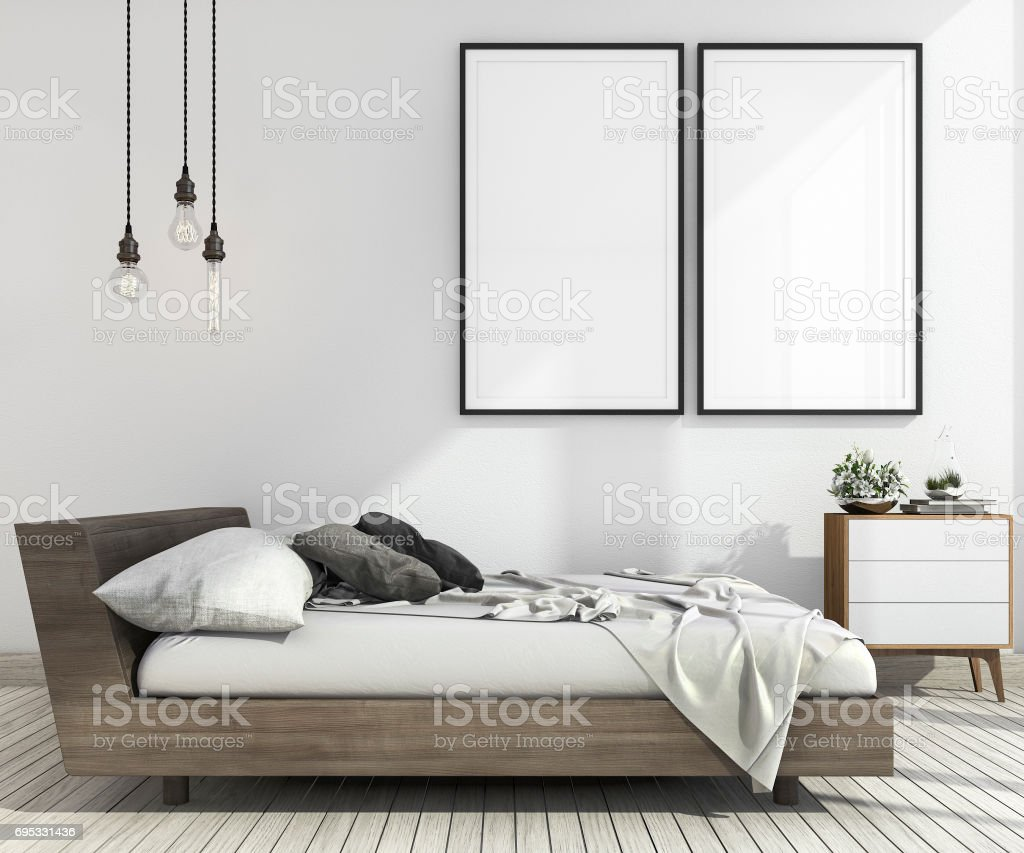 3d rendering vintage minimal mock up bedroom in scandinavian style stock photo