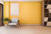 3d rendering vintage yellow living room with armchair