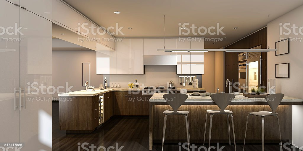 3d rendering warm light beautiful kitchen stock photo