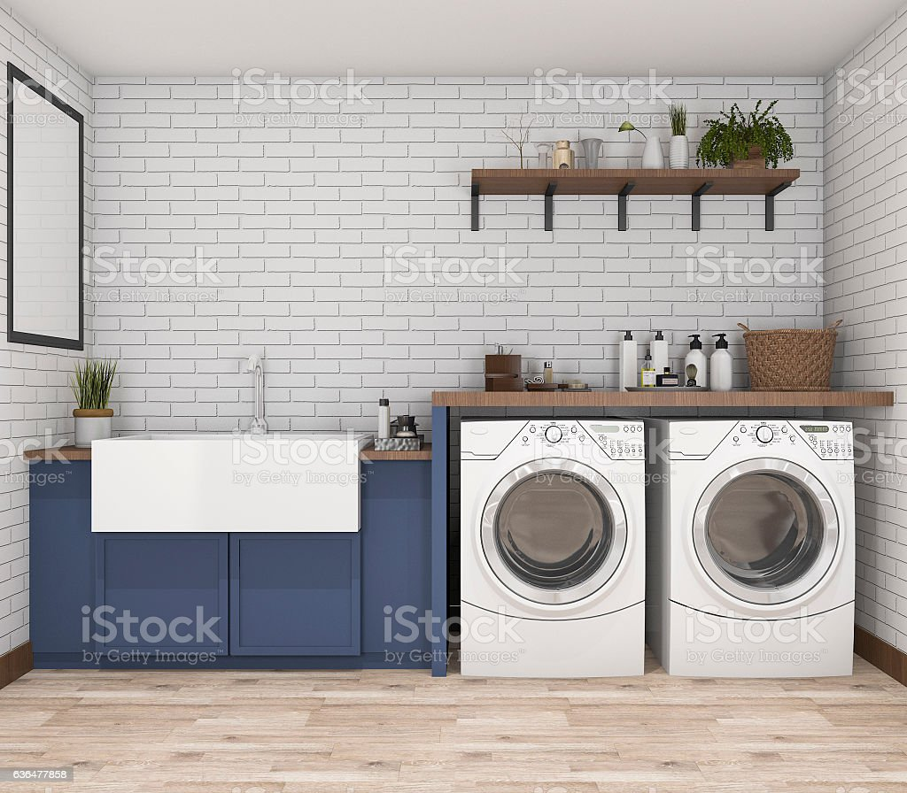 3d rendering washing machine in vintage laundry room stock photo