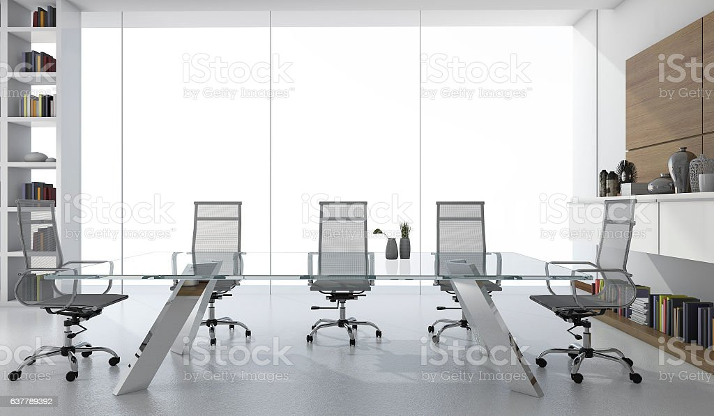 3d rendering white business meeting room with light from window stock photo