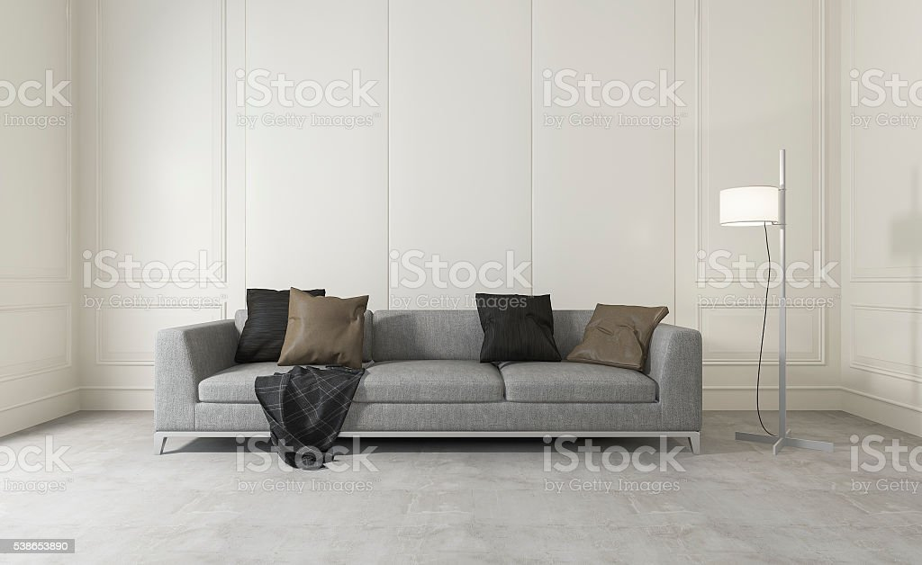 3d rendering white clean room with comfortable sofa stock photo