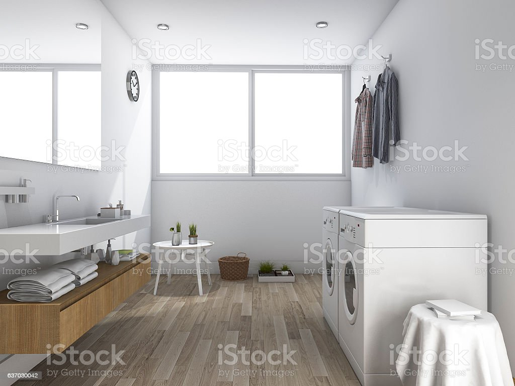 3d rendering white laundry room with minimal design stock photo