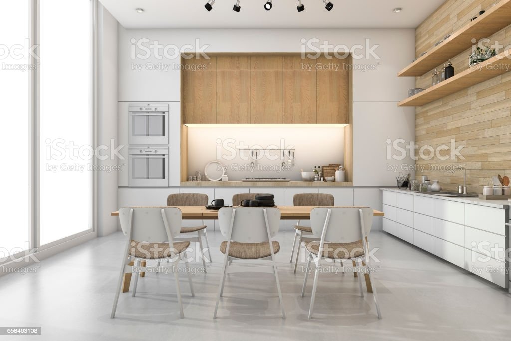 3d rendering white loft kitchen with nice decor dining zone stock photo