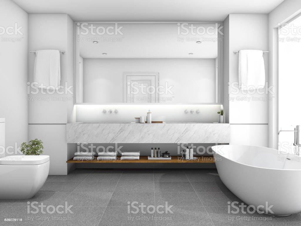 3d rendering white luxury bathroom near window stock photo