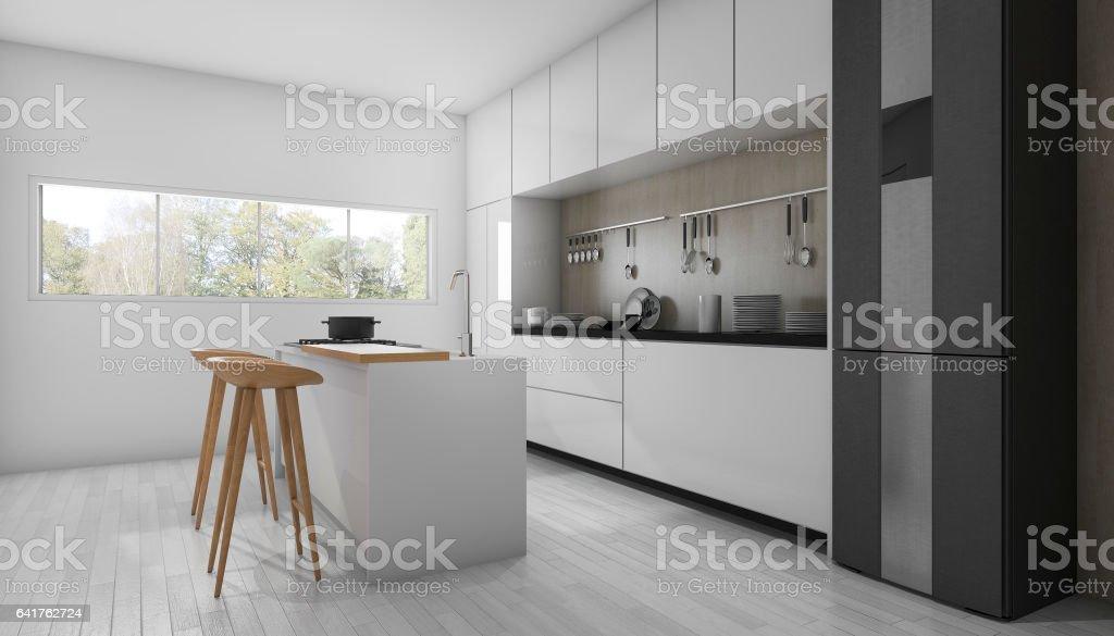 3d rendering white minimal and modern kitchen stock photo