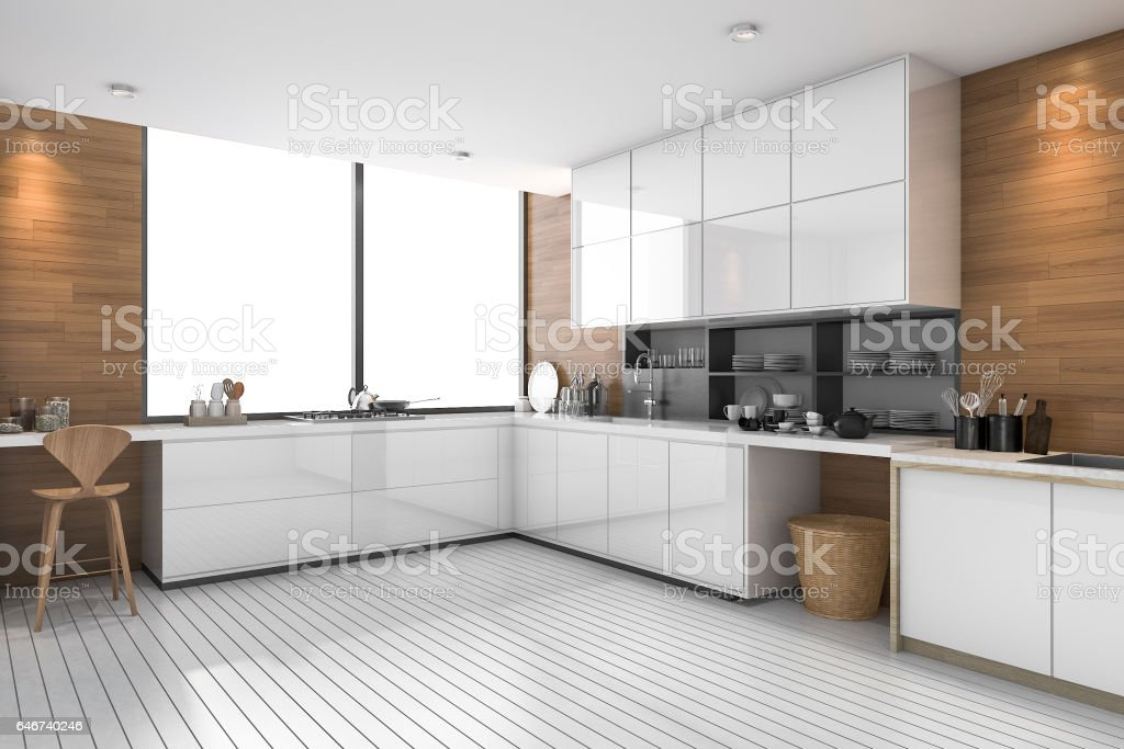 3d rendering white modern ethnic kitchen with wood design stock photo