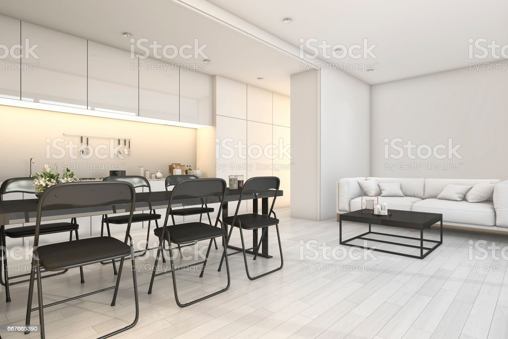 3d rendering white modern kitchen and living area with dining zone stock photo