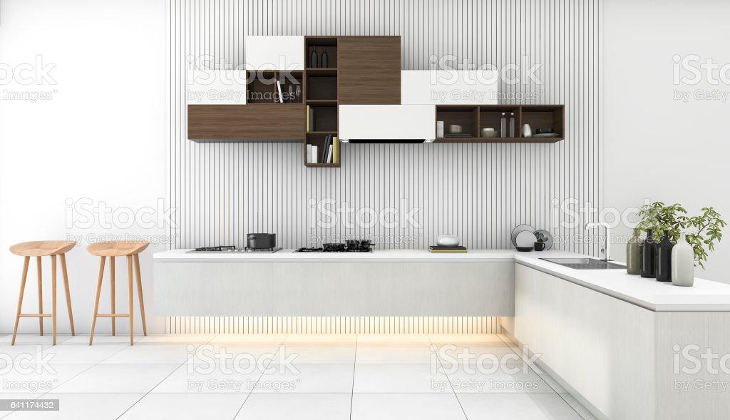 3d rendering white modern kitchen with minimal decor stock photo