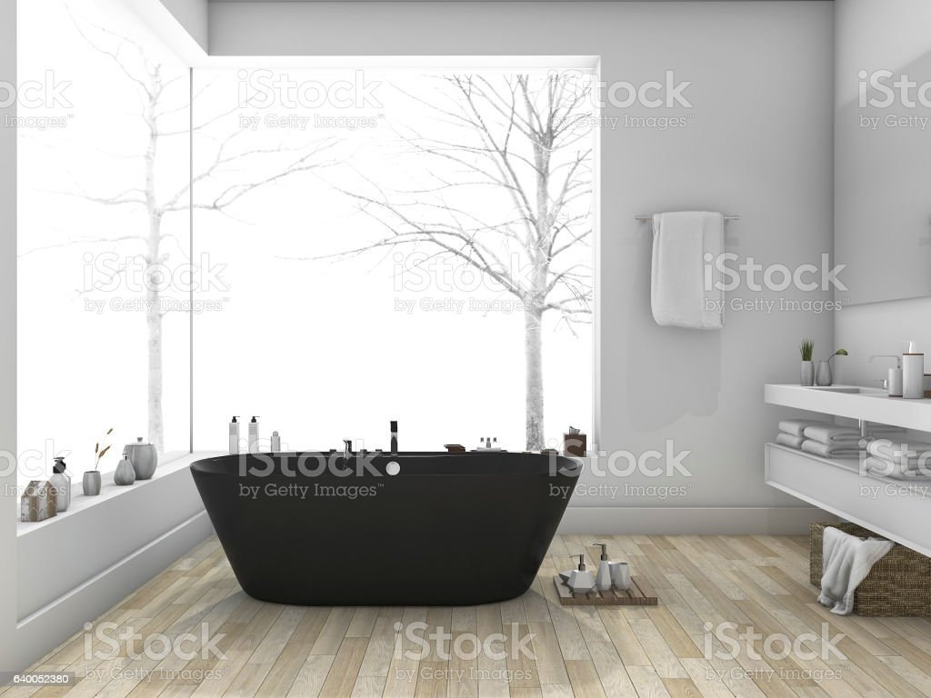 3d rendering winter and modern style bathroom with wood floor stock photo