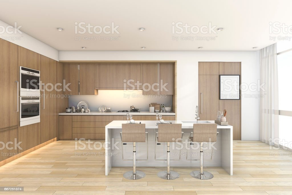 3d rendering wood bar kitchen and dining near window stock photo