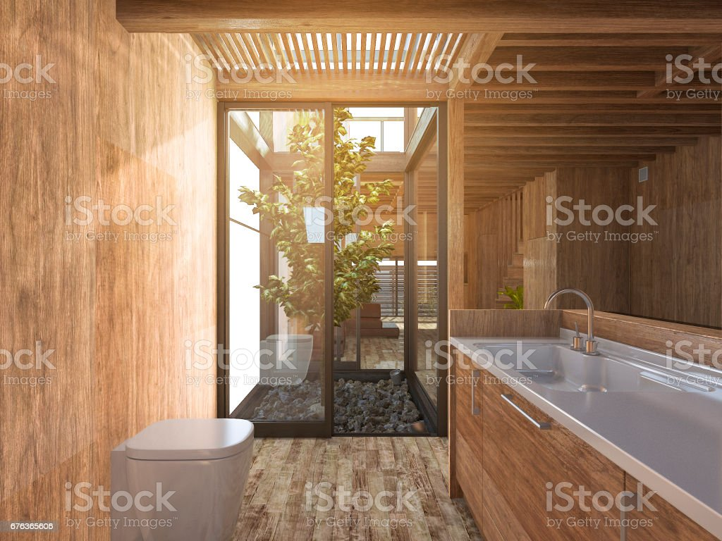 3d rendering wood bathroom near japanese zen rock garden in wood house stock photo