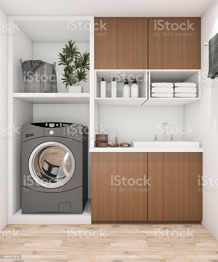 3d rendering wood laundry room with washing machine stock photo