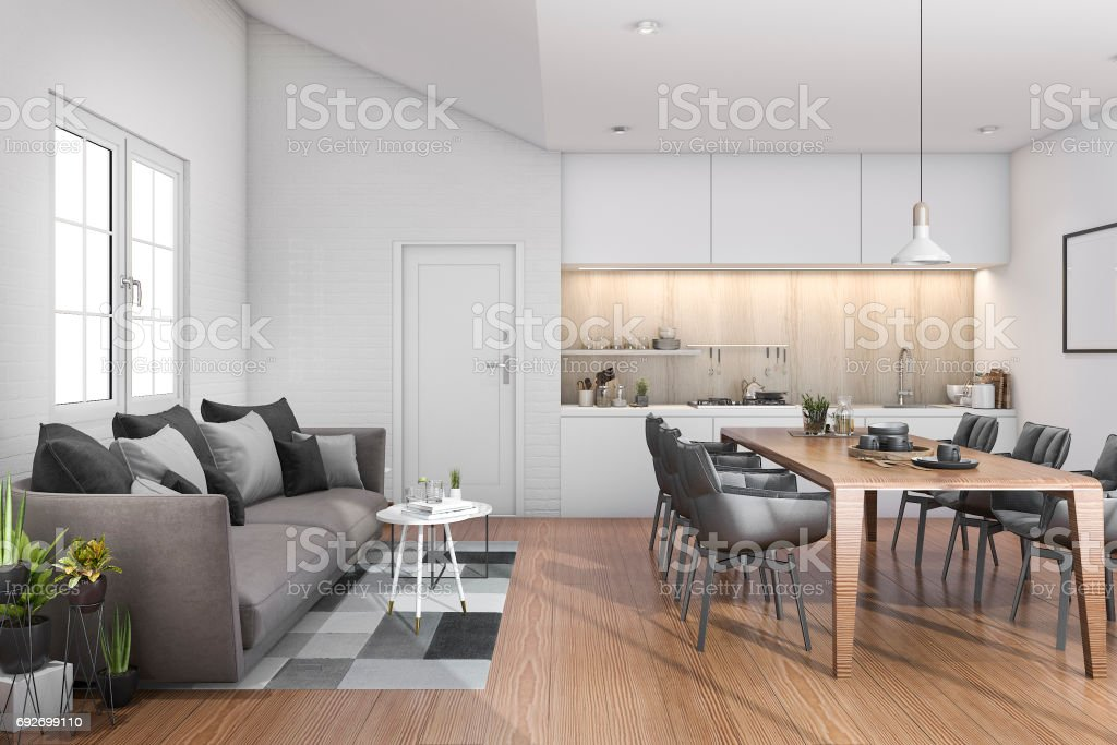 3d rendering wood loft kitchen with bar and sofa near door stock photo