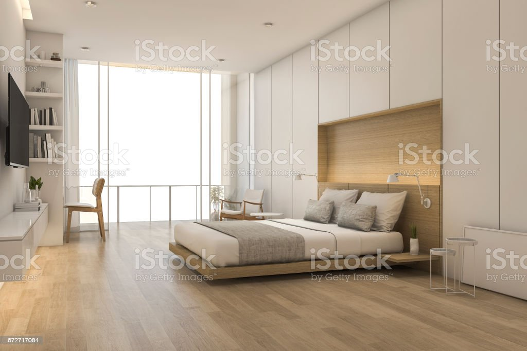 3d rendering wood minimal style bedroom with view from window stock photo