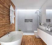 3d rendering wood modern bathroom with nice design