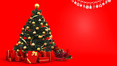 3d rendering yellow bell on christmas tree with gift