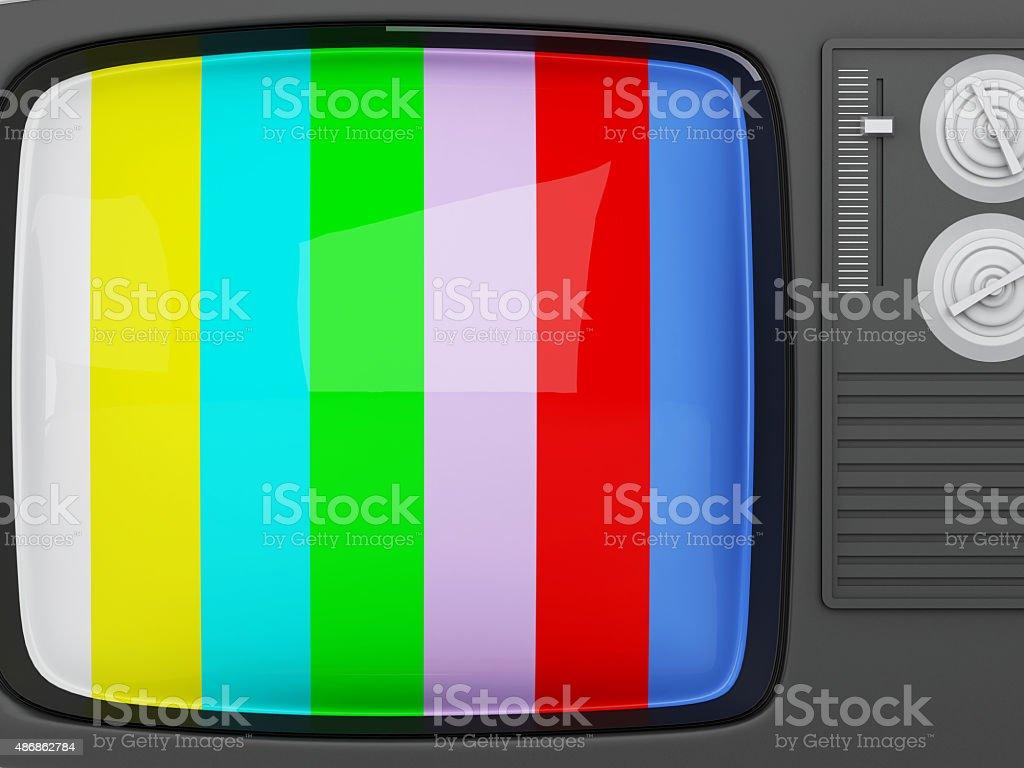 3d retro tv -colorful no signal background stock photo