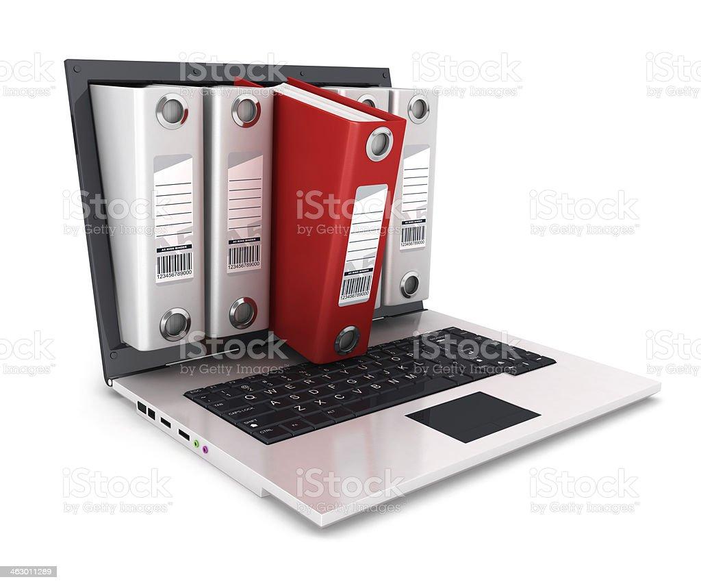 3d ring binder inside laptop stock photo