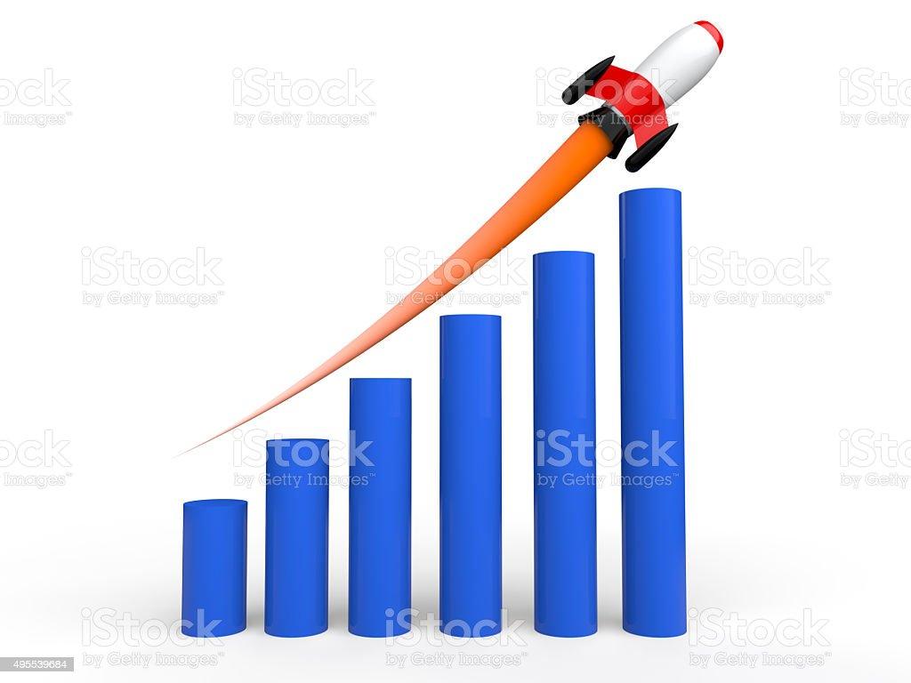 3d rising bar graph with rocket stock photo