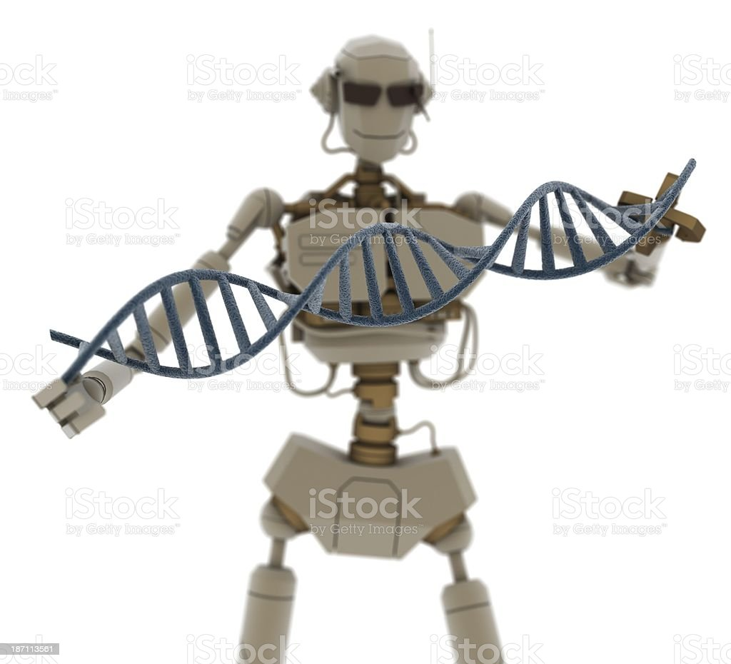 3d robot analyzing DNA chain royalty-free stock photo