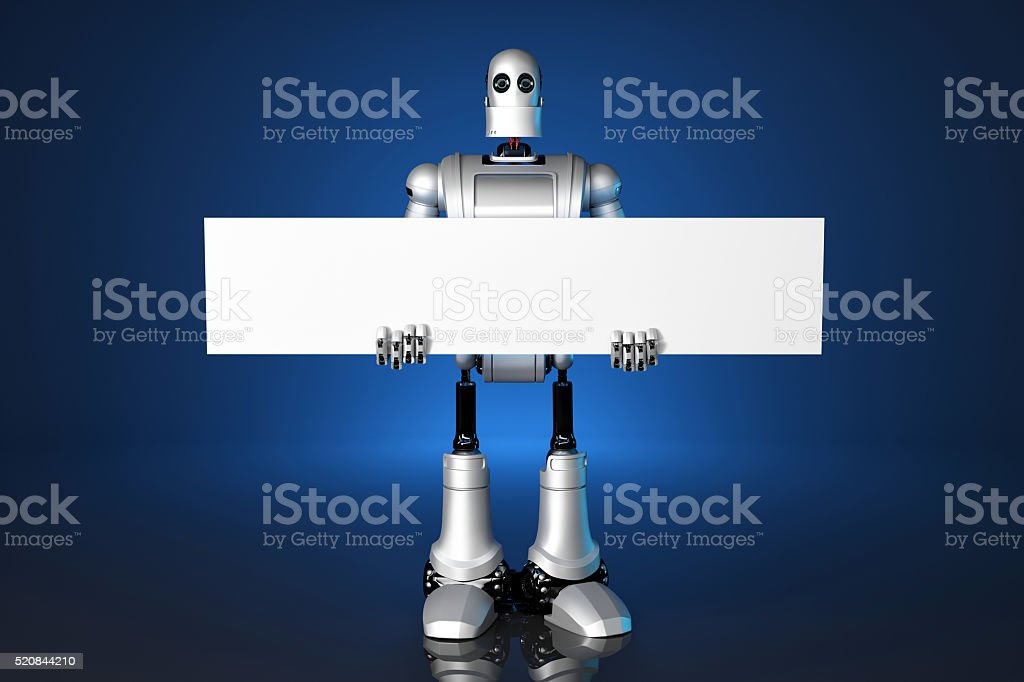 3d Robot holding a blank banner. Contains clipping path. stock photo