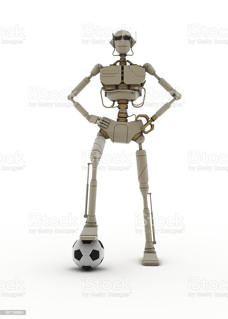 3d robot - Soccer hero royalty-free stock photo