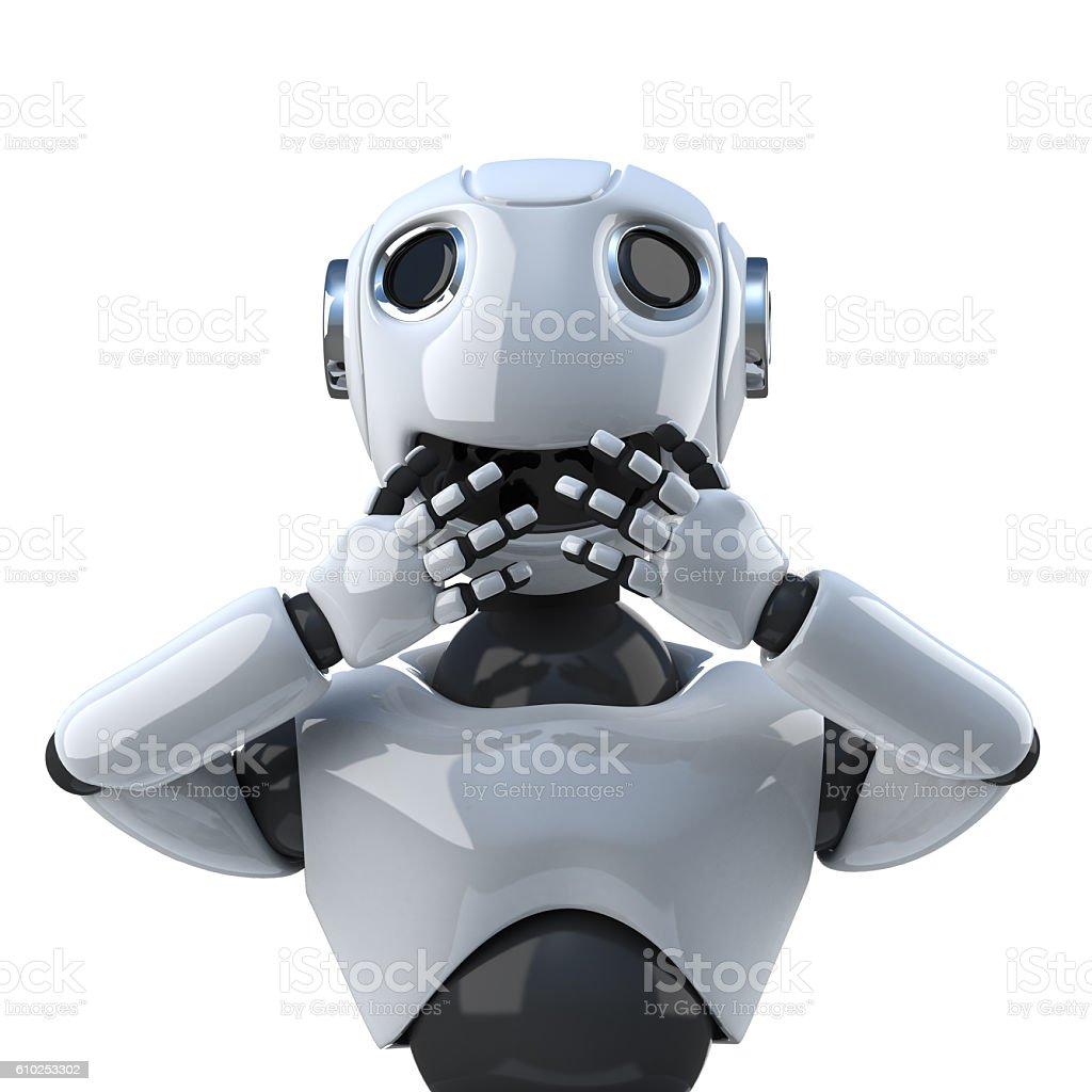 3d Robot speaks no evil stock photo