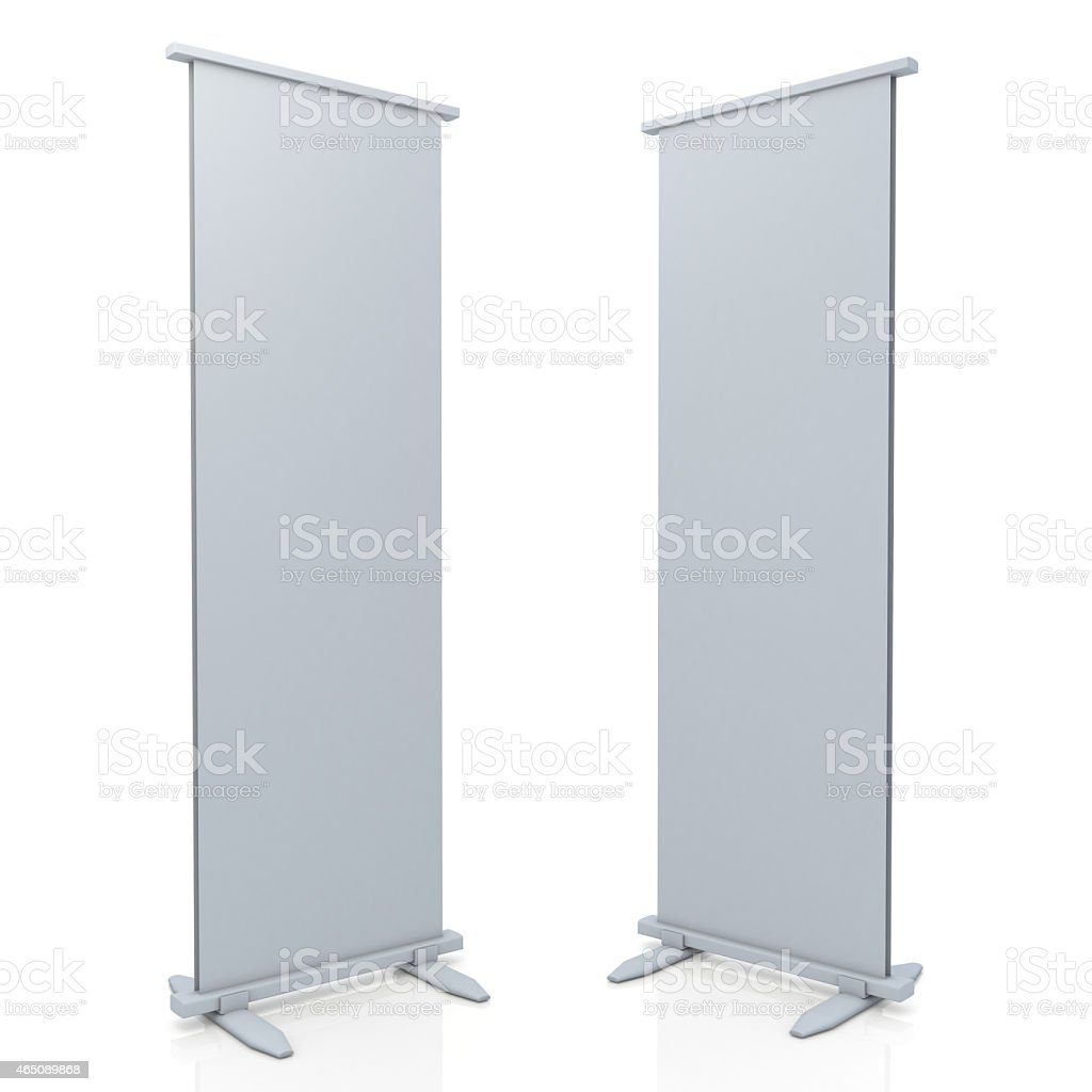 3d roll stand display and base in isolated background stock photo