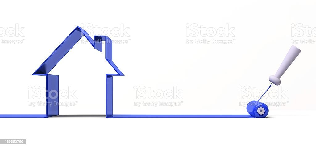 3d roller and blue paint stock photo