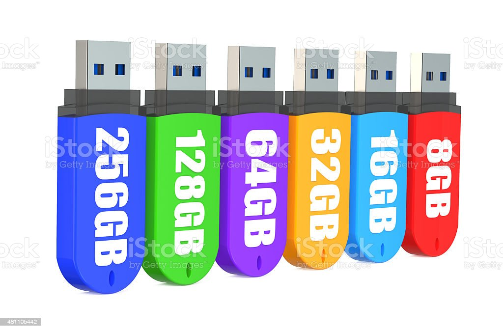 3d Row of color USB flash drives stock photo