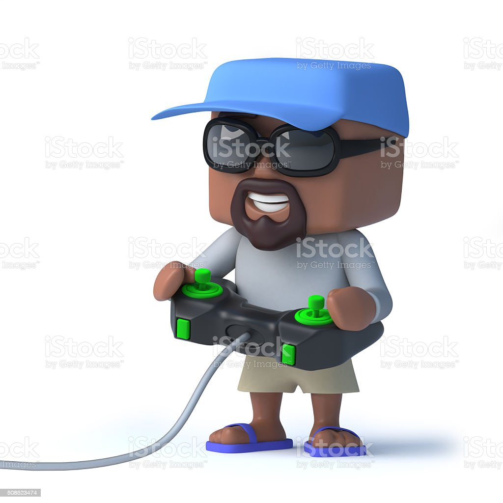 3d Sailor duded is playing a video game stock photo