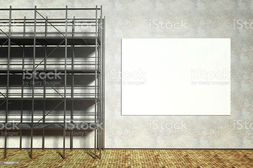 3d scaffolding and blank advertising billboard royalty-free stock photo