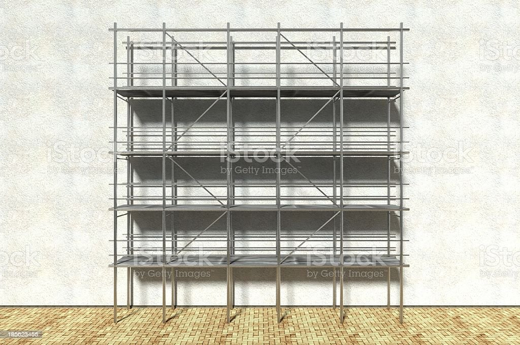 3d scaffolding and renovated wall royalty-free stock photo