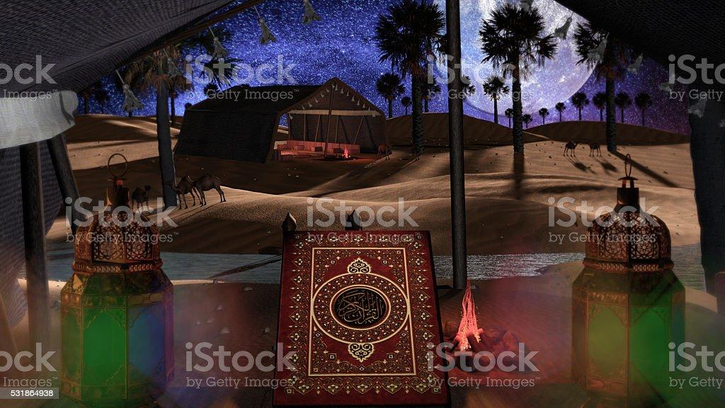 3d scene for islamic events stock photo