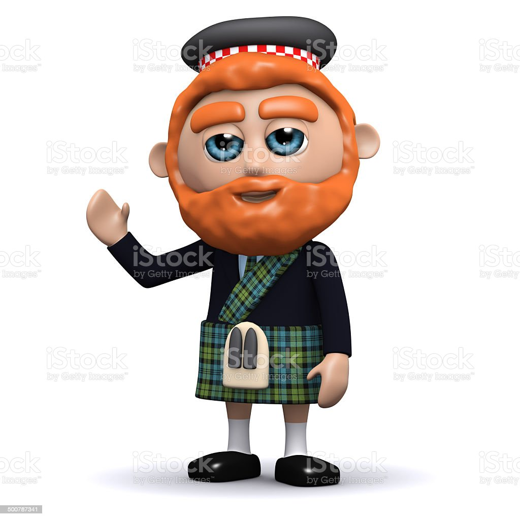 3d Scotsman waves a friendly greeting stock photo