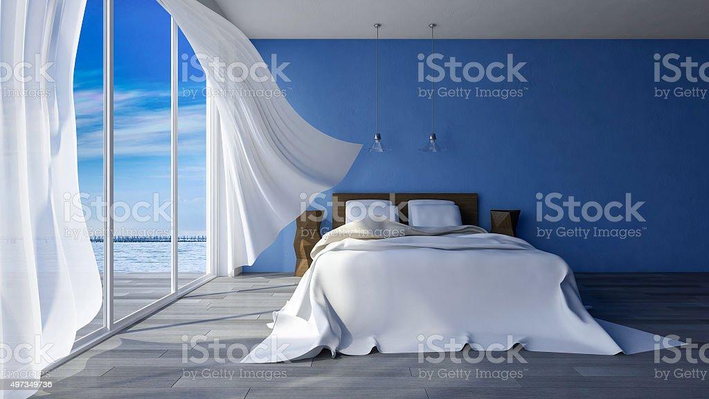 3d seaside bedroom stock photo