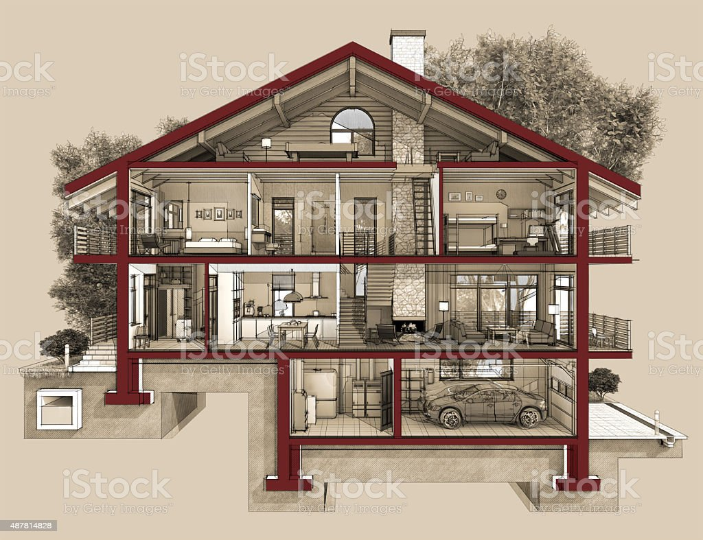 3d section of a country house vector art illustration