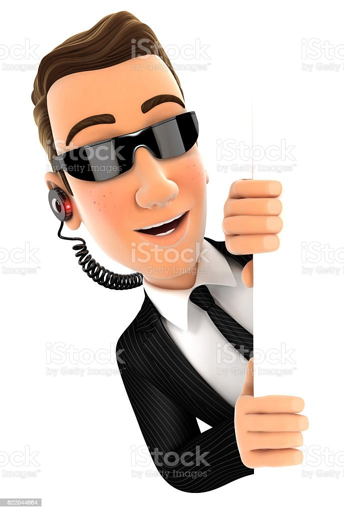 3d security agent peeping over blank wall stock photo