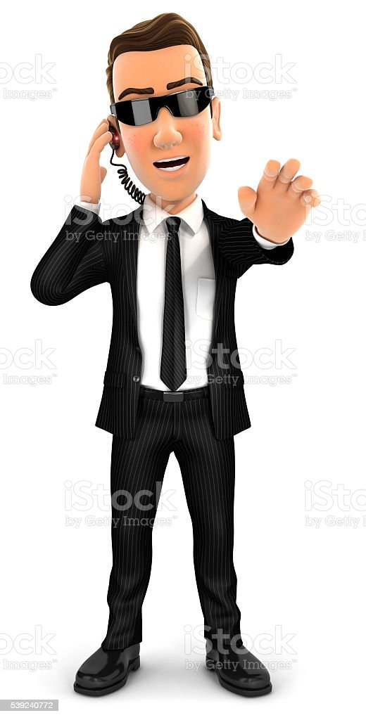 3d security agent stop gesture stock photo
