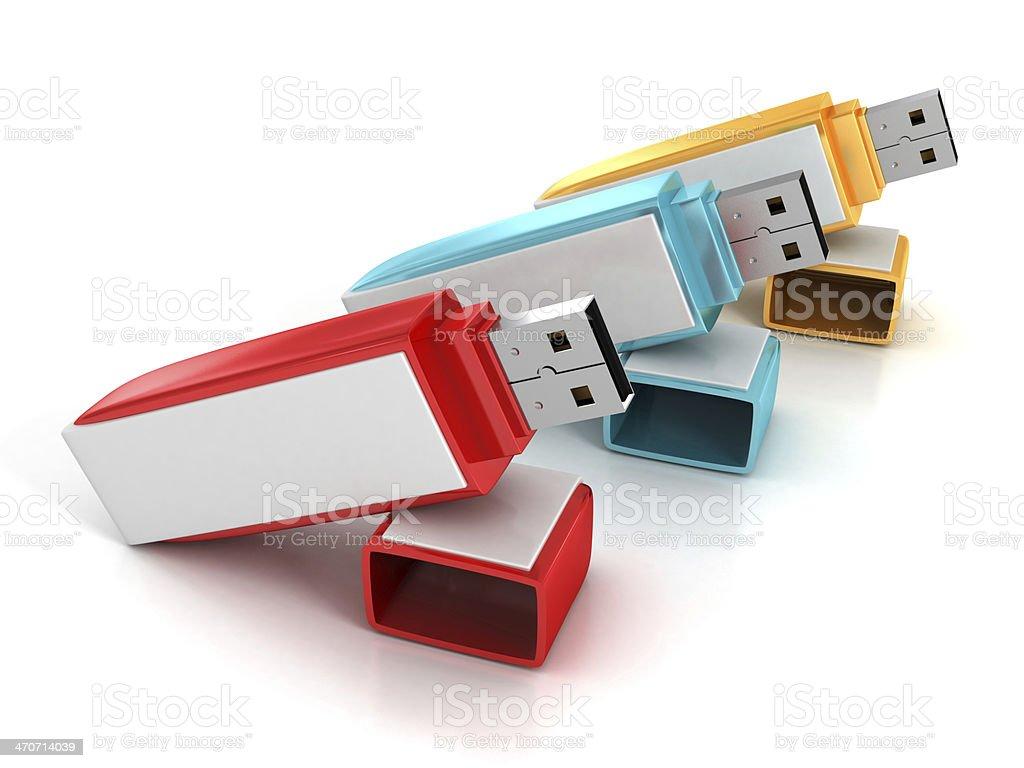 3d Set of colorful USB flash drives sticks stock photo