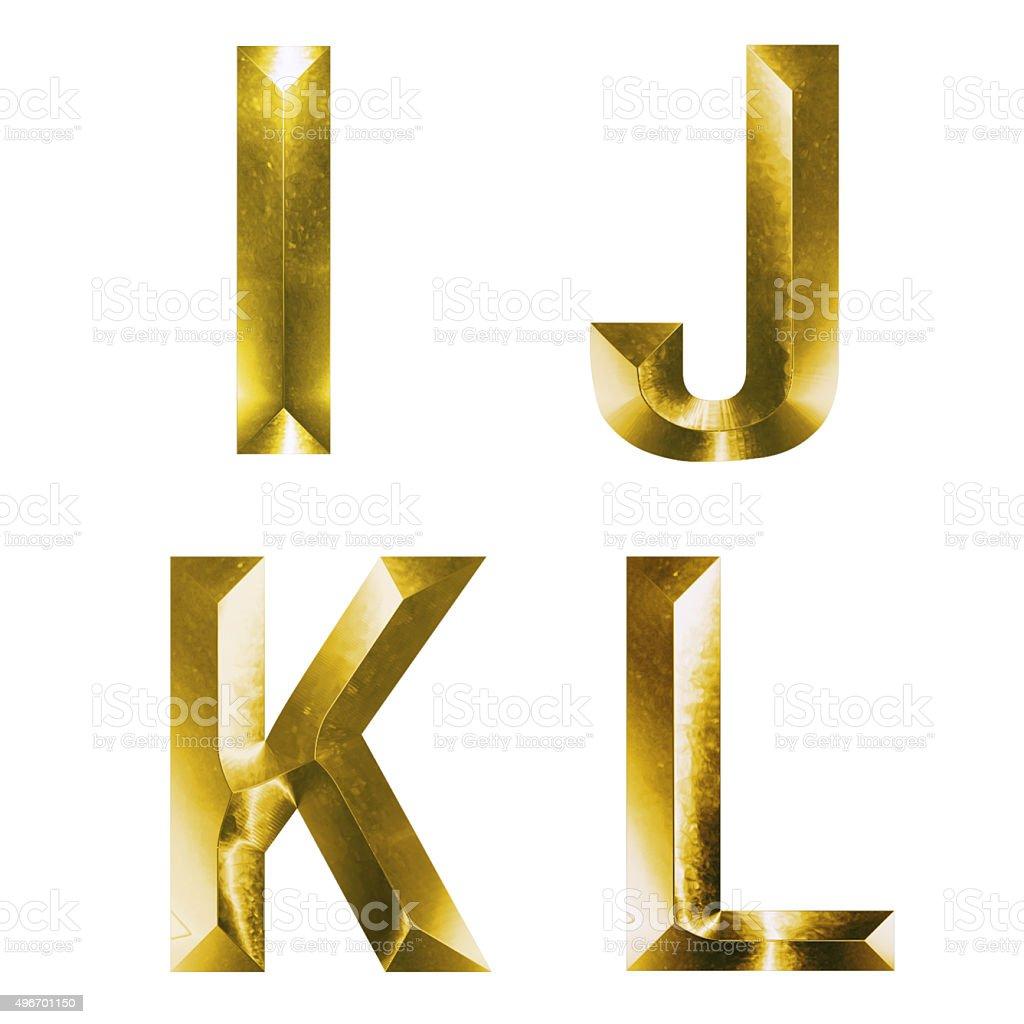 3d set of gold alphabet I, J, K, L stock photo