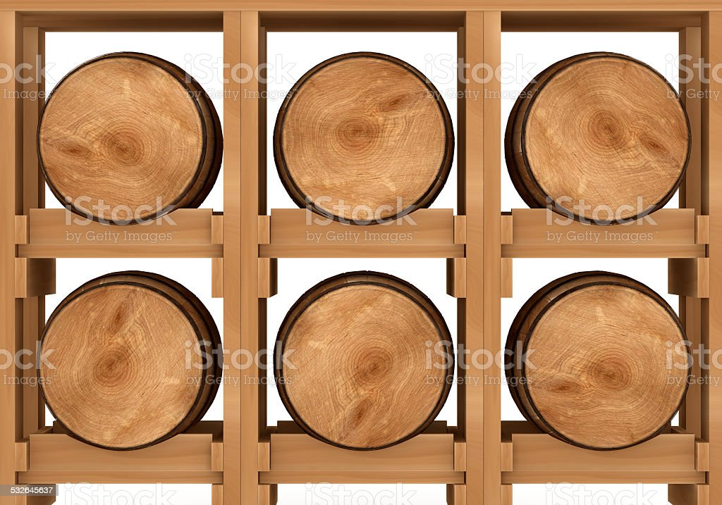 3d shelf with six wooden barrels on white background stock photo