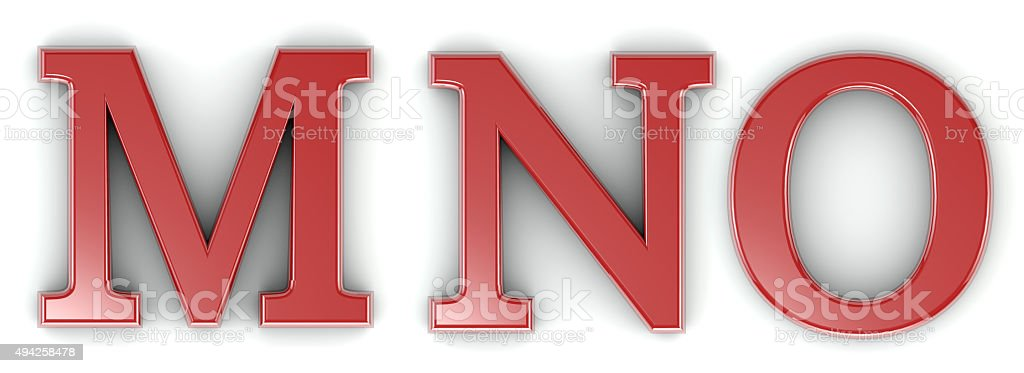 3d shiny red letter collection - M, N, O stock photo