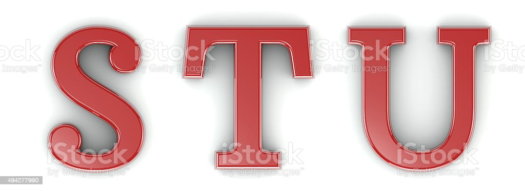 3d shiny red letter collection - S, T, U stock photo