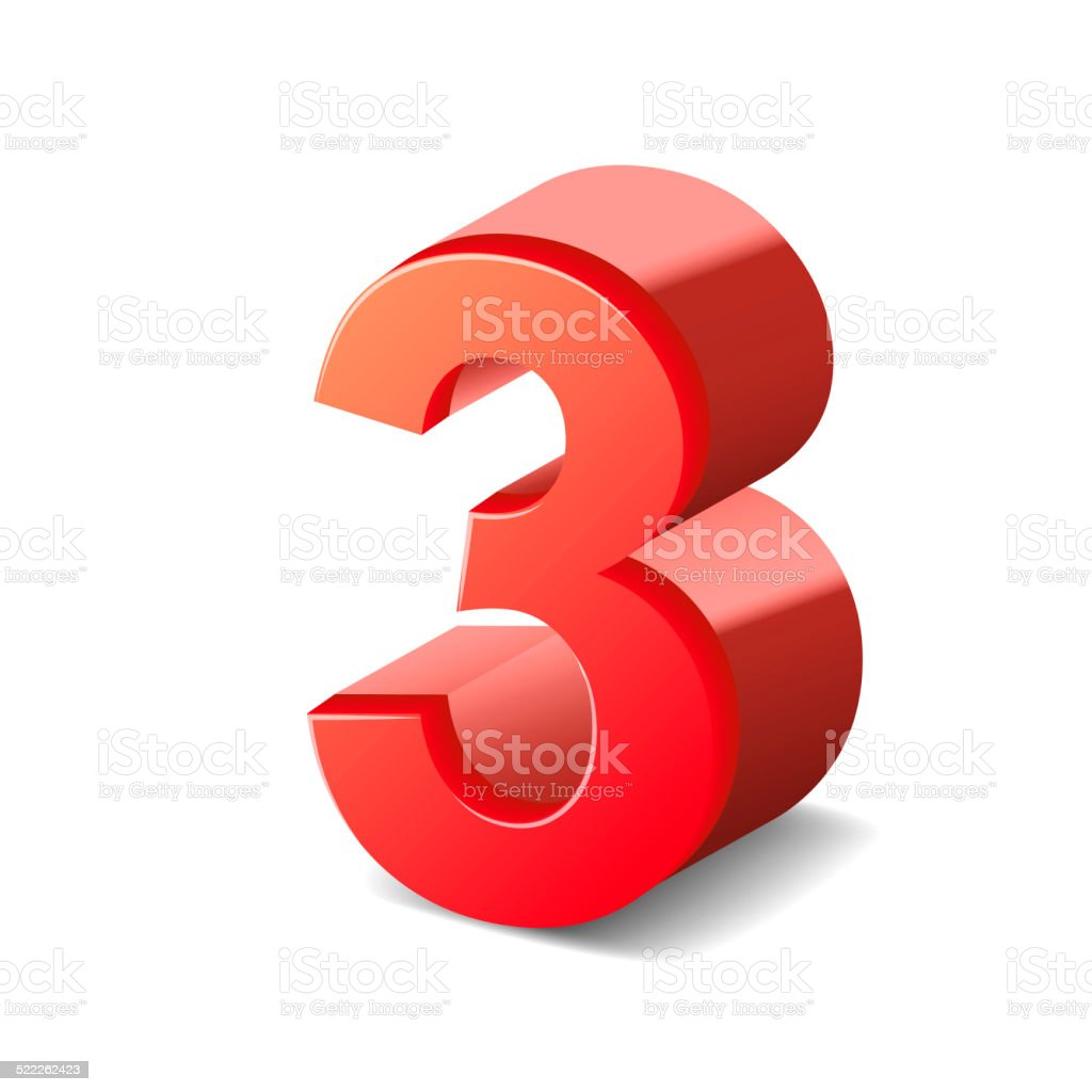 3d shiny red number 3 stock photo