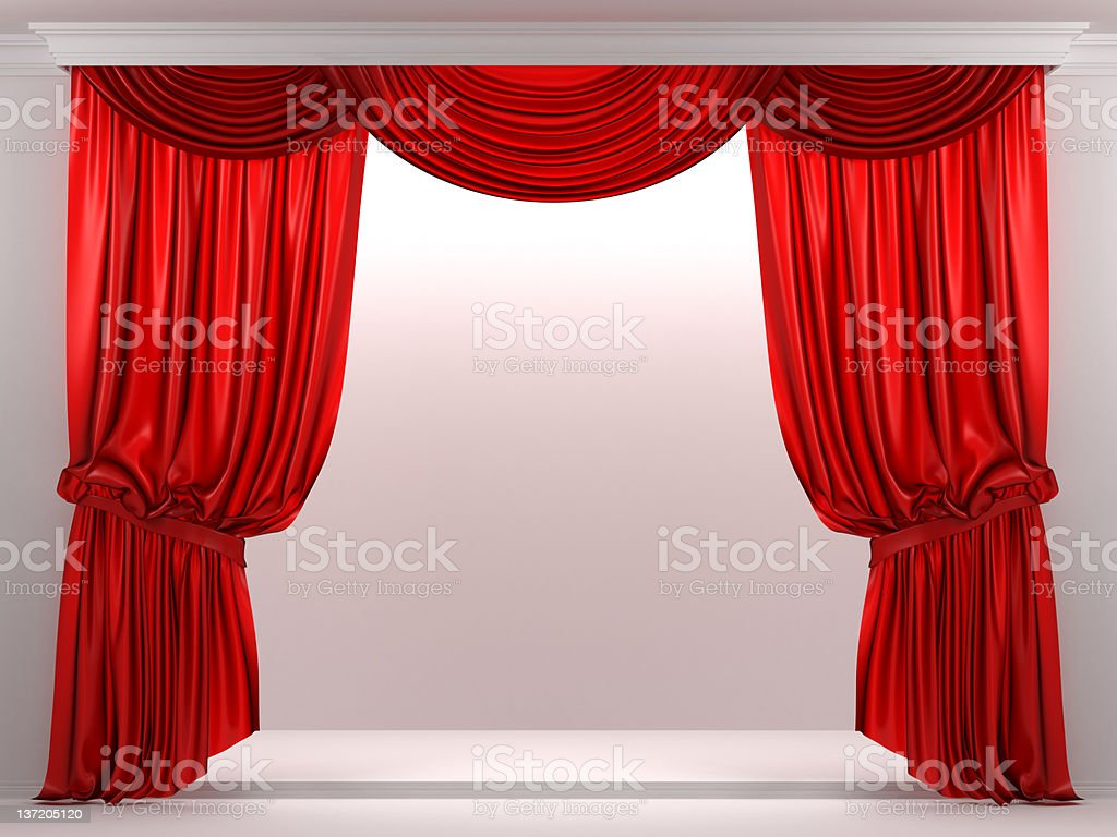 3d showcase with red curtain royalty-free stock photo