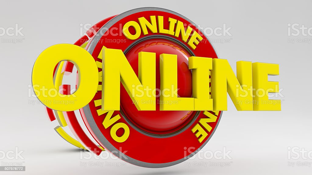 3d sign Online text stock photo