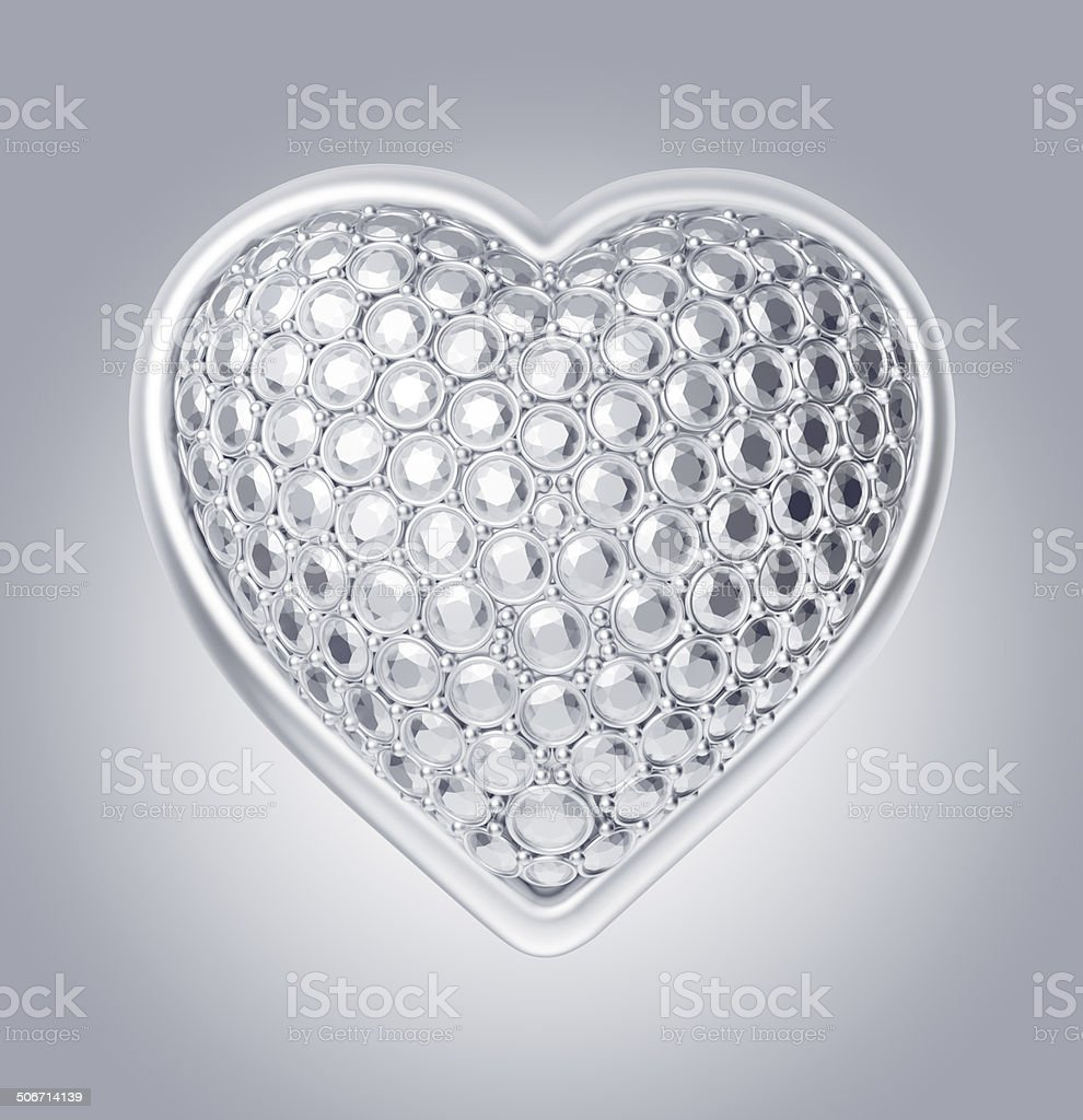 3d silver crystal heart symbol stock photo